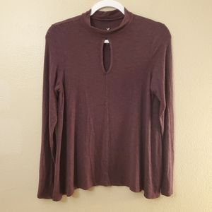 American Eagle Outfitters Mauve Striped Top Medium